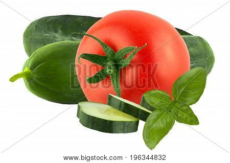 Isolated vegetables. Fresh tomato and cucumber isolated on white backgdound as package design element.Natural food.
