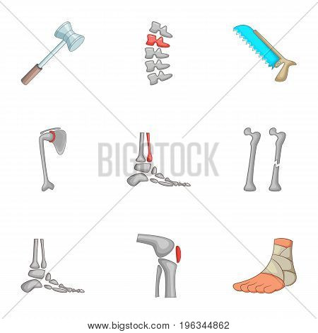 Traumatology and orthopedics icons set. Cartoon set of 9 traumatology and orthopedics vector icons for web isolated on white background