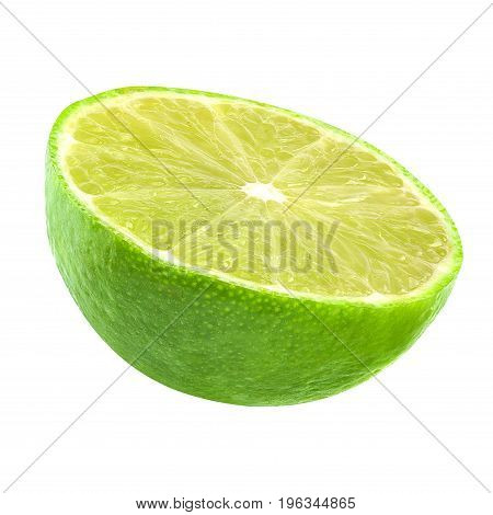 Isolated limes. Cut lime fruits isolated on white background with clipping path