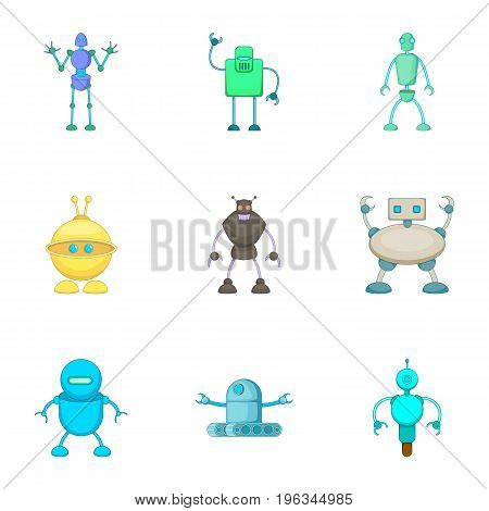 Clever machines icons set. Cartoon set of 9 clever machines vector icons for web isolated on white background