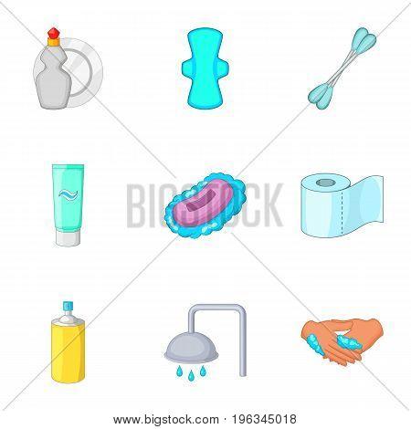 Bathroom equipment icons set. Cartoon set of 9 bathroom equipment vector icons for web isolated on white background