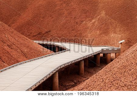 Walkway in the Painted Hills part of the John Day Fossil Beds National Monument Oregon USA