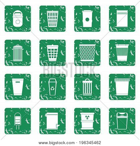 Trash can icons set in grunge style green isolated vector illustration