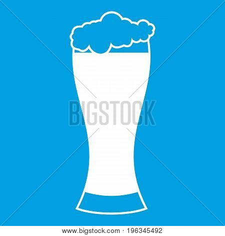 Glass of beer icon white isolated on blue background vector illustration