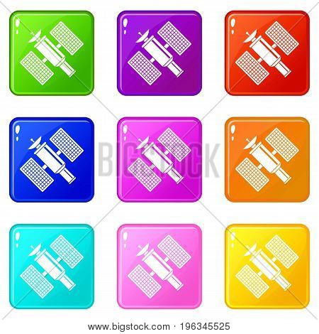 Space satellite icons of 9 color set isolated vector illustration