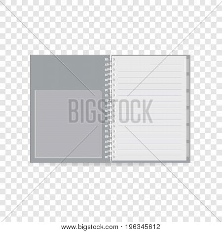 Spiral notebook icon. Realistic illustration of spiral notebook vector icon for web
