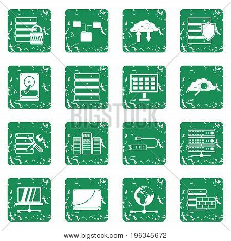 Database icons set in grunge style green isolated vector illustration