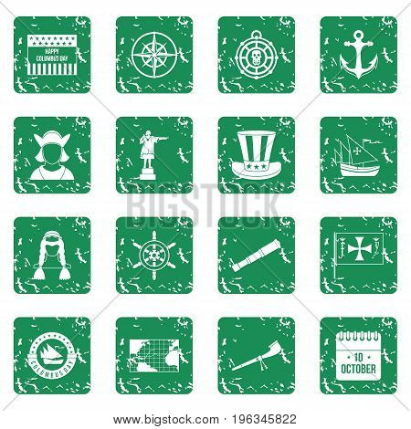 Columbus Day icons set in grunge style green isolated vector illustration