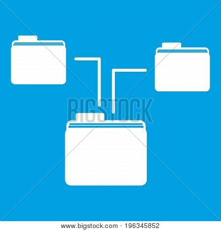 Folders structure icon white isolated on blue background vector illustration