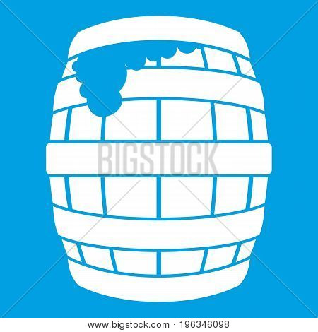 Barrel of beer icon white isolated on blue background vector illustration