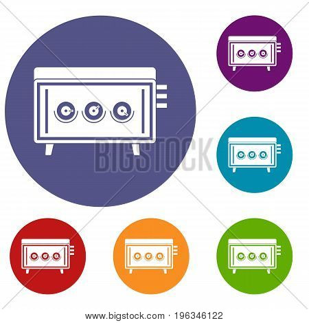 CD changer icons set in flat circle red, blue and green color for web