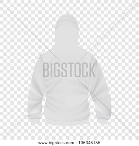 Back of white hoodie mockup. Realistic illustration of back of white hoodie vector mockup for web