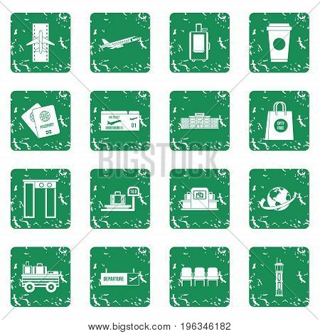 Airport icons set in grunge style green isolated vector illustration