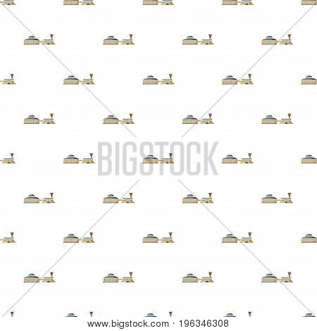 Large stock and factory pattern seamless repeat in cartoon style vector illustration