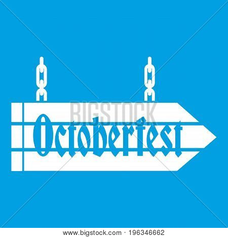 Sign octoberfest icon white isolated on blue background vector illustration