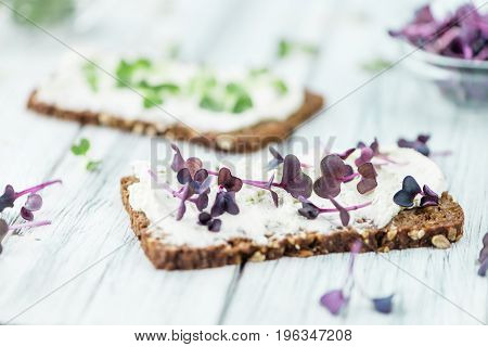 Cream Cheese Topped With Fresh Cress (selective Focus)