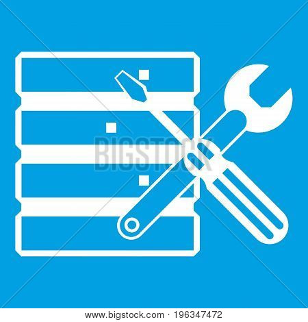 Database with screwdriverl and spanner icon white isolated on blue background vector illustration