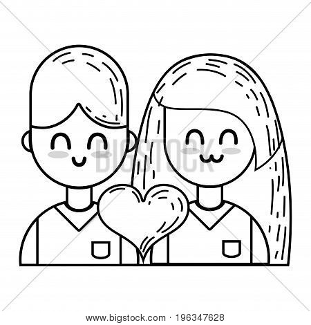 line couple with beauty relation ships and heart vector illustration