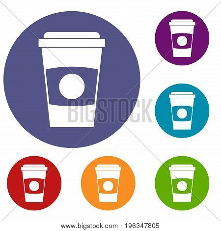 Paper coffee cup icons set in flat circle red, blue and green color for web
