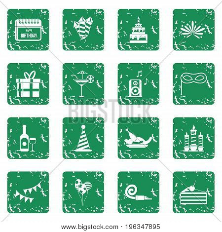 Happy Birthday icons set in grunge style green isolated vector illustration