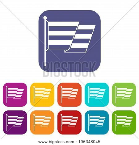 Flag LGBT icons set vector illustration in flat style in colors red, blue, green, and other