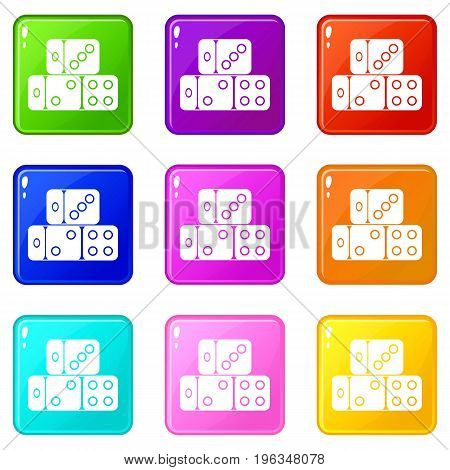 Three dice cubes icons of 9 color set isolated vector illustration