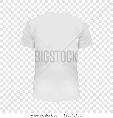 Back of white Tshirt mockup. Realistic illustration of back of white Tshirt vector mockup for web
