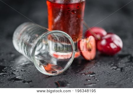 Slate Slab With Cherry Liqueur