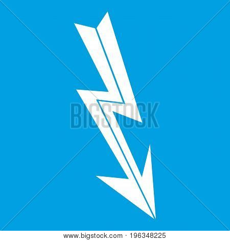 Arrow lightning icon white isolated on blue background vector illustration
