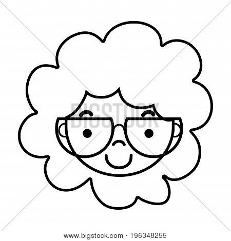 line boy face with glasses and hairstyle design vector illustration