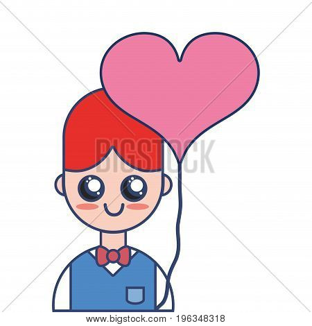 nice boy with uniform clothes and heart balloon vector illustration
