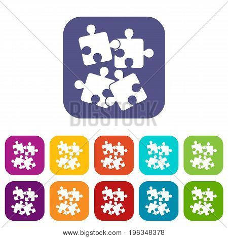 Jigsaw puzzles icons set vector illustration in flat style in colors red, blue, green, and other