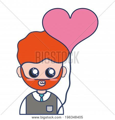 man teacher with uniform clothes and heart balloon vector illustration