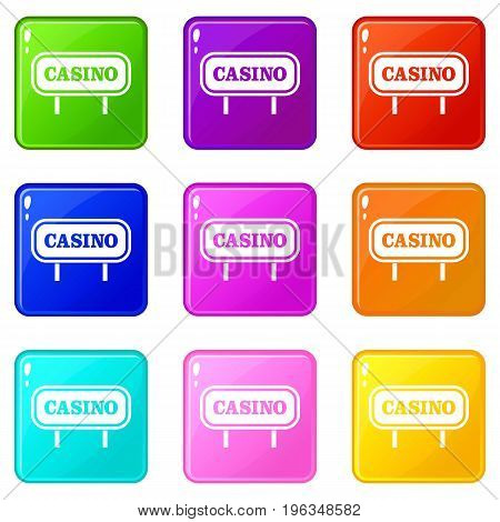 Casino sign icons of 9 color set isolated vector illustration