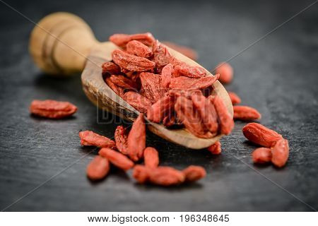 Portion Of Dried Goji Berries (selective Focus)