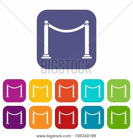 Decorative poles with tape icons set vector illustration in flat style in colors red, blue, green, and other