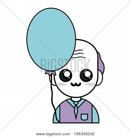 old man teacher with uniform clothes and heart balloon vector illustration