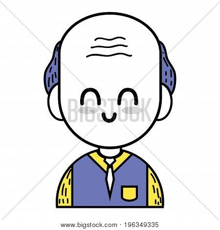 old man teacher with uniform clothes vector illustration
