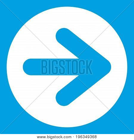 Arrow in circle icon white isolated on blue background vector illustration
