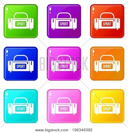 Large sports bag icons of 9 color set isolated vector illustration