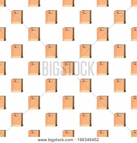 Brown paper bag in cartoon style isolated on white background vector illustration