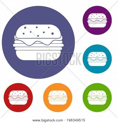 Hamburger icons set in flat circle red, blue and green color for web