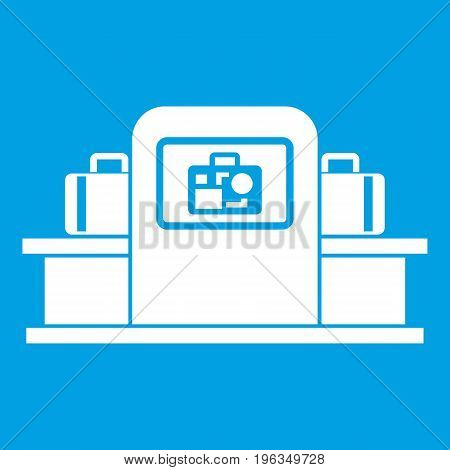 Airport baggage security scanner icon white isolated on blue background vector illustration