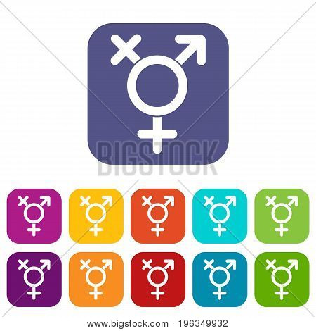 Transgender sign icons set vector illustration in flat style in colors red, blue, green, and other