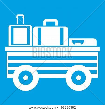 Service cart with luggage icon white isolated on blue background vector illustration