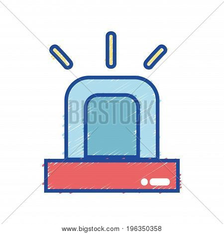 light siren to emergency danger security vector illustration