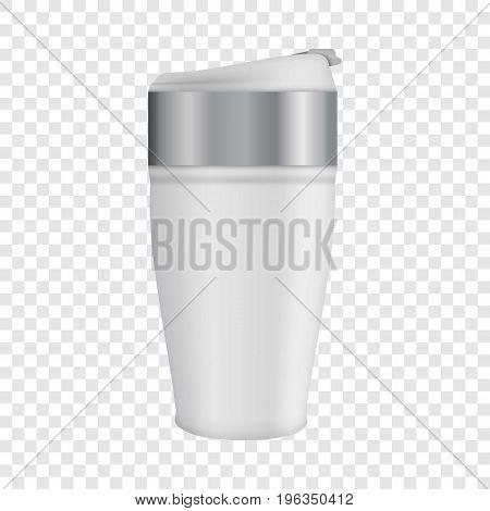 White thermos mug mockup. Realistic illustration of white thermos mug vector mockup for web