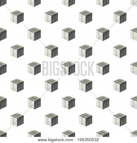 Cardboard box taped up in cartoon style isolated on white background vector illustration