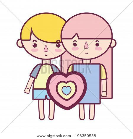couple children with hairstyle and pijama clothes vector illustration