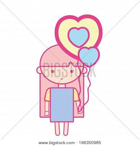 beauty girl with heart balloons and hairstyle design vector illustration